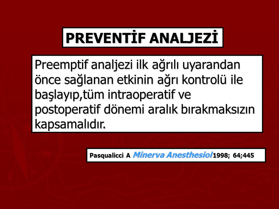 PREVENTİF ANALJEZİ