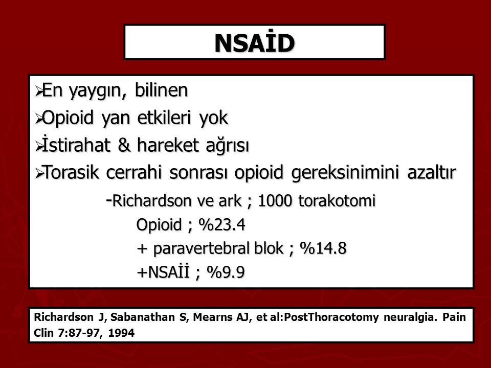 NSAİD En yaygın, bilinen Opioid yan etkileri yok