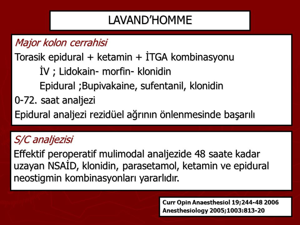 LAVAND'HOMME Major kolon cerrahisi