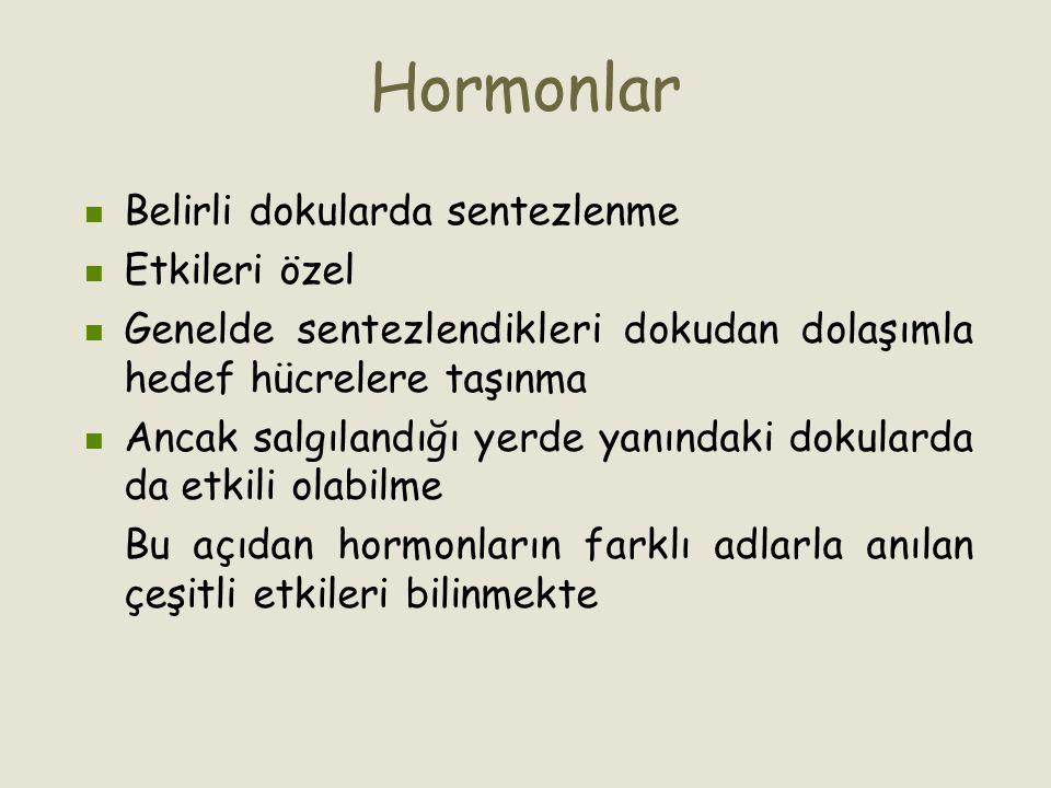 Hormonlar Belirli dokularda sentezlenme Etkileri özel