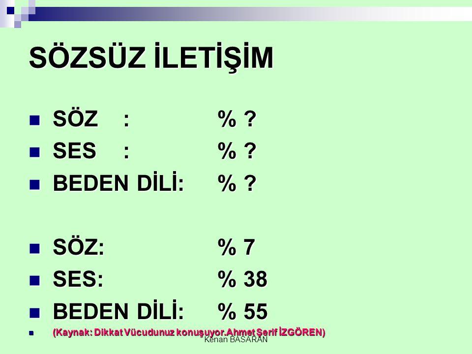 SÖZSÜZ İLETİŞİM SÖZ : % SES : % BEDEN DİLİ: % SÖZ: % 7 SES: % 38