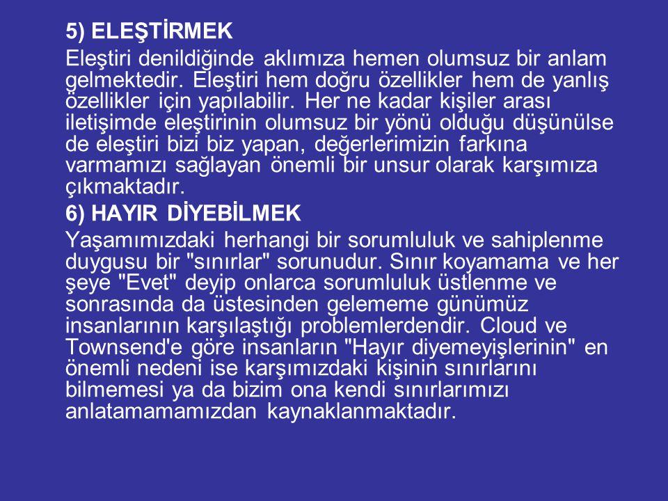 5) ELEŞTİRMEK