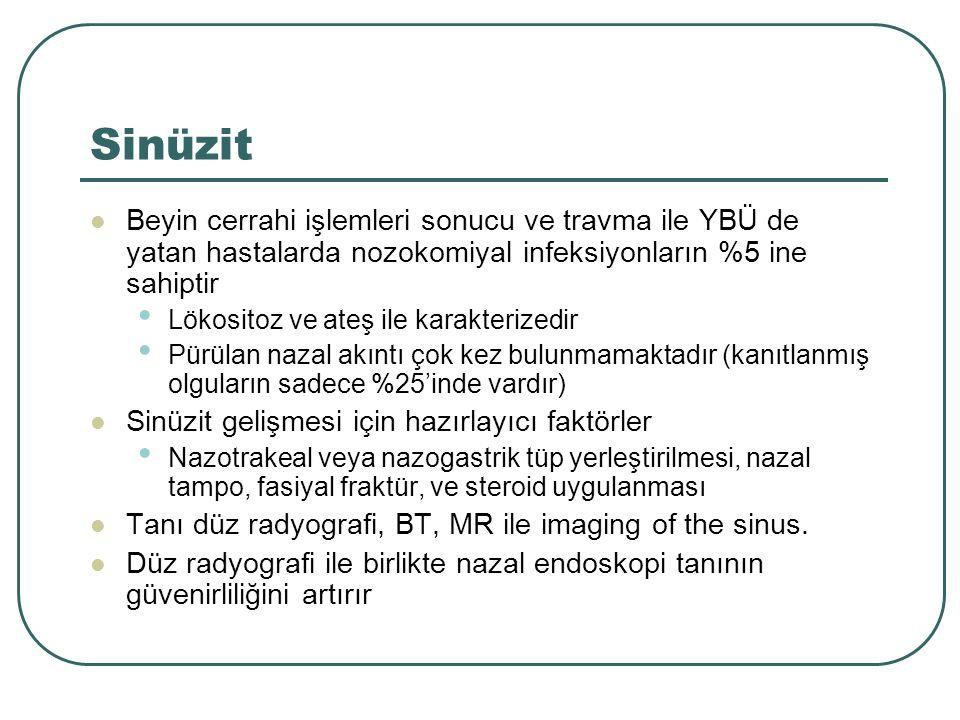 Sinüzit Beyin cerrahi işlemleri sonucu ve travma ile YBÜ de yatan hastalarda nozokomiyal infeksiyonların %5 ine sahiptir.