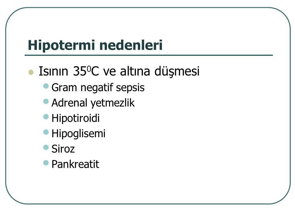 Hipotermi nedenleri Isının 350C ve altına düşmesi Gram negatif sepsis