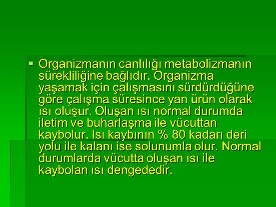 Organizmanın canlılığı metabolizmanın sürekliliğine bağlıdır