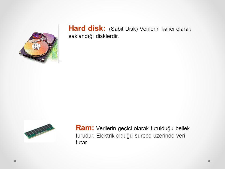 Hard disk: (Sabit Disk) Verilerin kalıcı olarak saklandığı disklerdir.
