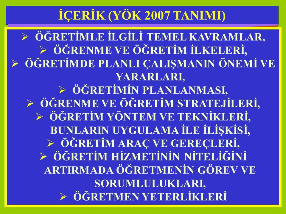 İÇERİK (YÖK 2007 TANIMI) ÖĞRETİMLE İLGİLİ TEMEL KAVRAMLAR,