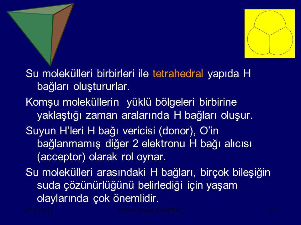 Su molekülleri birbirleri ile tetrahedral yapıda H bağları oluştururlar.