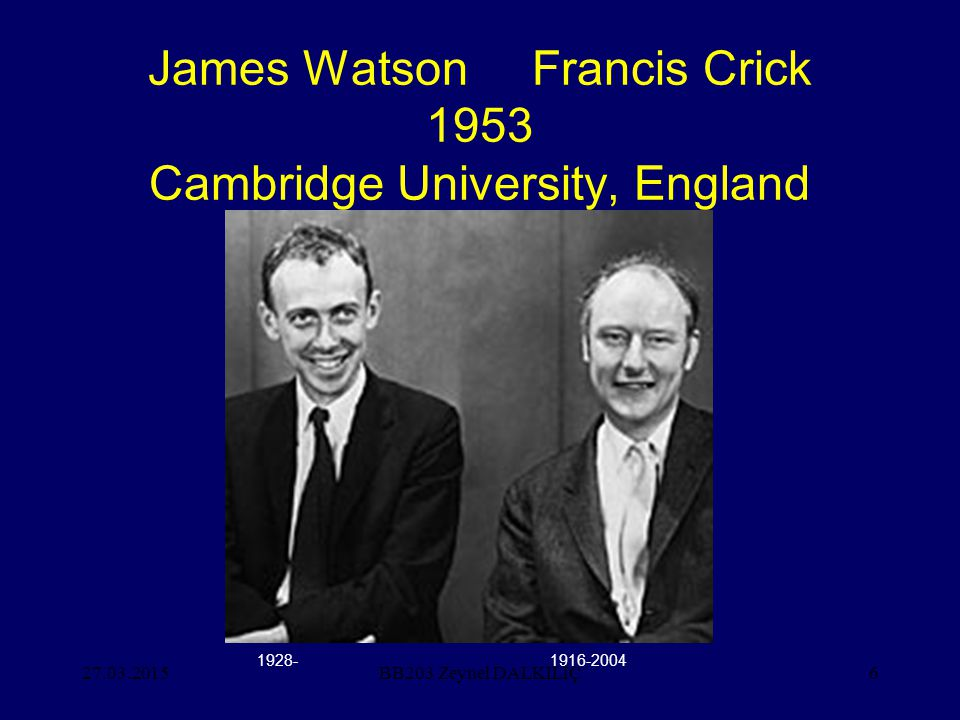 James Watson Francis Crick 1953 Cambridge University, England