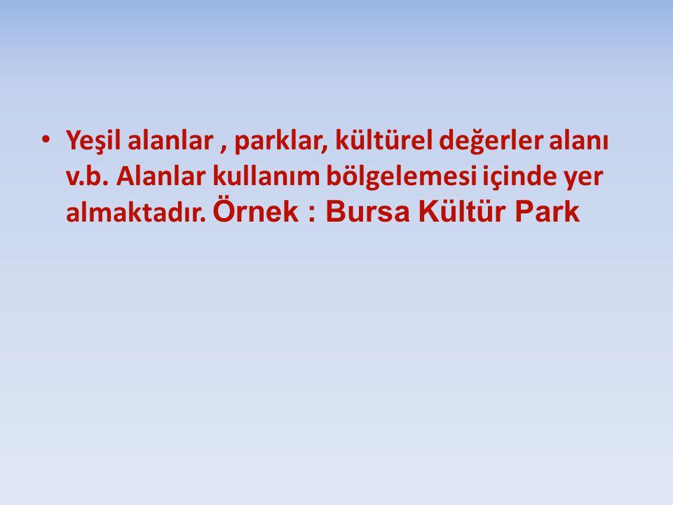 Yeşil alanlar , parklar, kültürel değerler alanı v. b