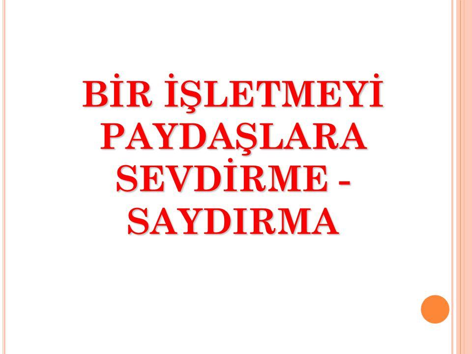 BİR İŞLETMEYİ PAYDAŞLARA SEVDİRME - SAYDIRMA