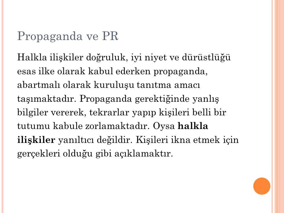 Propaganda ve PR Halkla ilişkiler doğruluk, iyi niyet ve dürüstlüğü