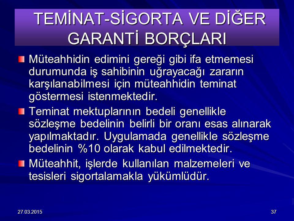 TEMİNAT-SİGORTA VE DİĞER GARANTİ BORÇLARI
