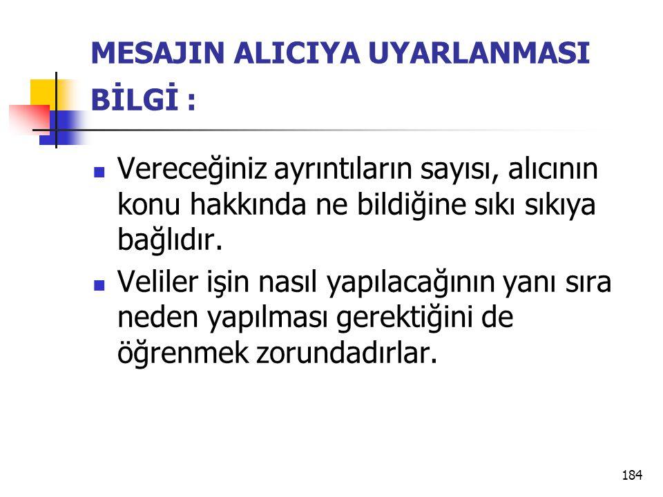 MESAJIN ALICIYA UYARLANMASI BİLGİ :