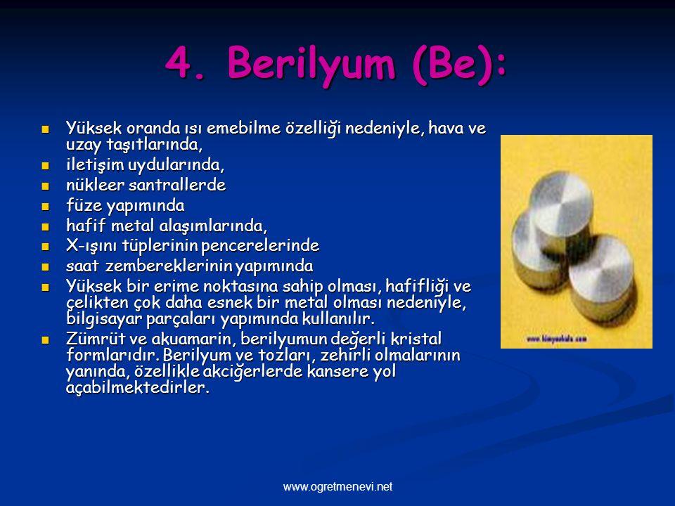 4. Berilyum (Be): Yüksek oranda ısı emebilme özelliği nedeniyle, hava ve uzay taşıtlarında, iletişim uydularında,