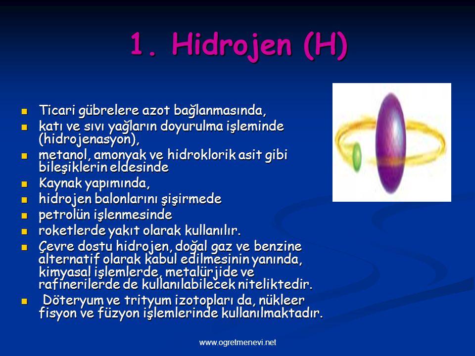 1. Hidrojen (H) Ticari gübrelere azot bağlanmasında,