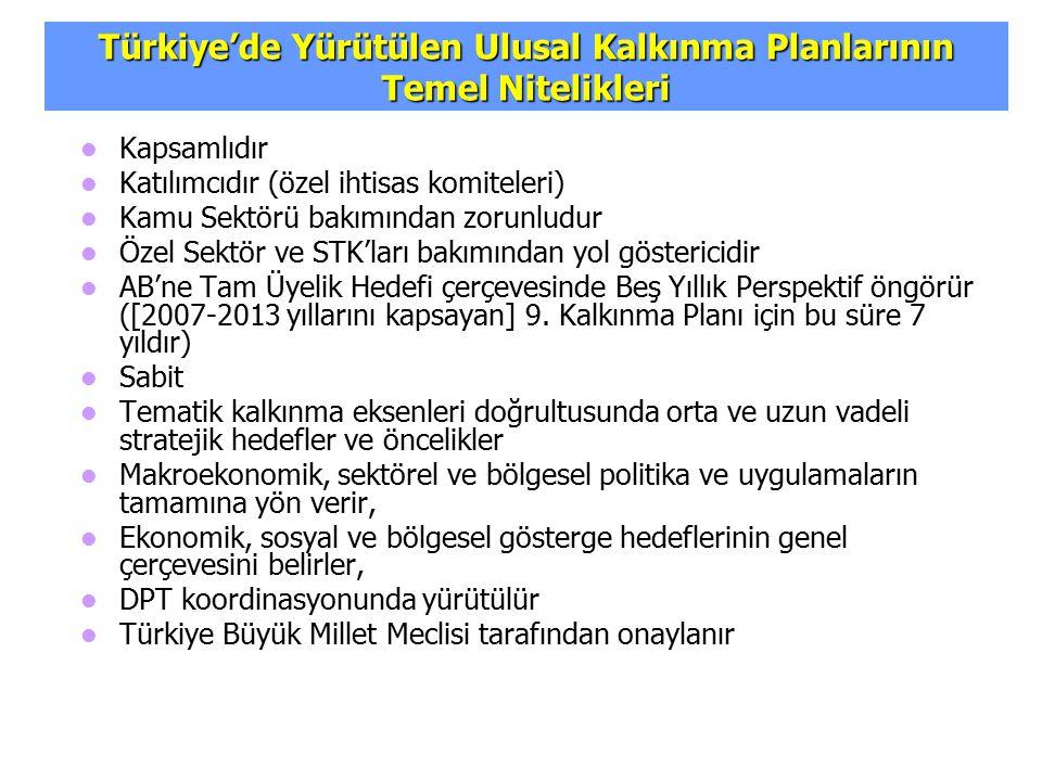 Türkiye'de Yürütülen Ulusal Kalkınma Planlarının Temel Nitelikleri
