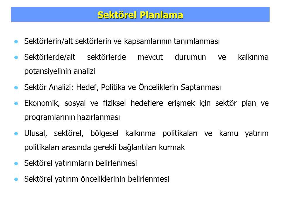 Sektörel Planlama Sektörlerin/alt sektörlerin ve kapsamlarının tanımlanması.