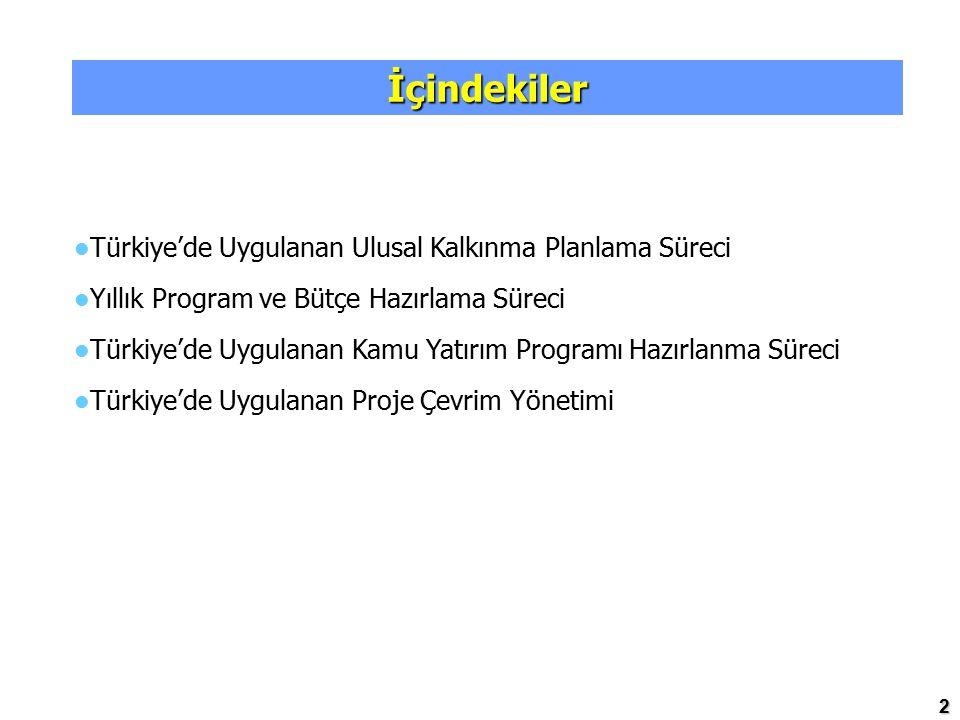 İçindekiler Türkiye'de Uygulanan Ulusal Kalkınma Planlama Süreci