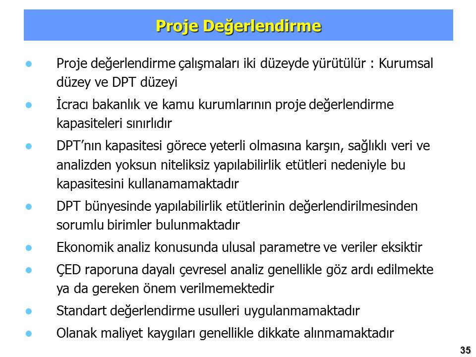Proje Değerlendirme Proje değerlendirme çalışmaları iki düzeyde yürütülür : Kurumsal düzey ve DPT düzeyi.