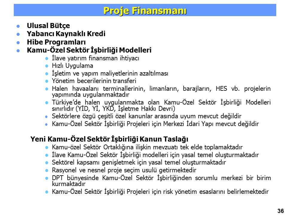 Proje Finansmanı Ulusal Bütçe Yabancı Kaynaklı Kredi Hibe Programları