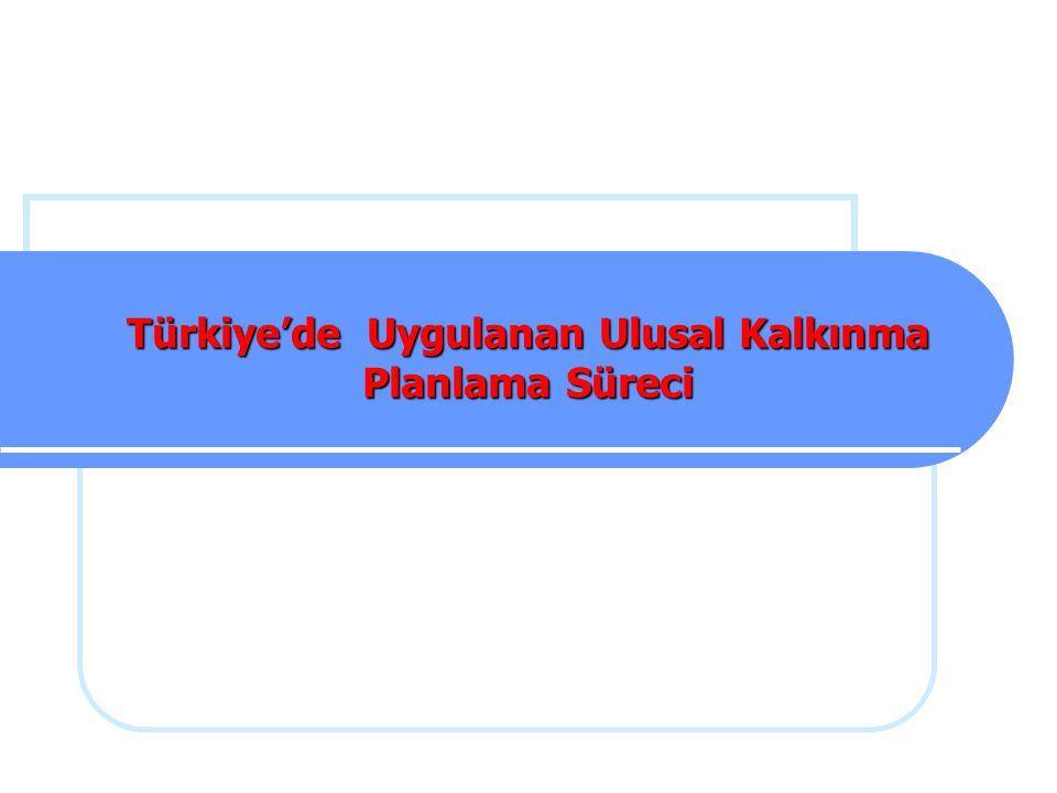 Türkiye'de Uygulanan Ulusal Kalkınma Planlama Süreci