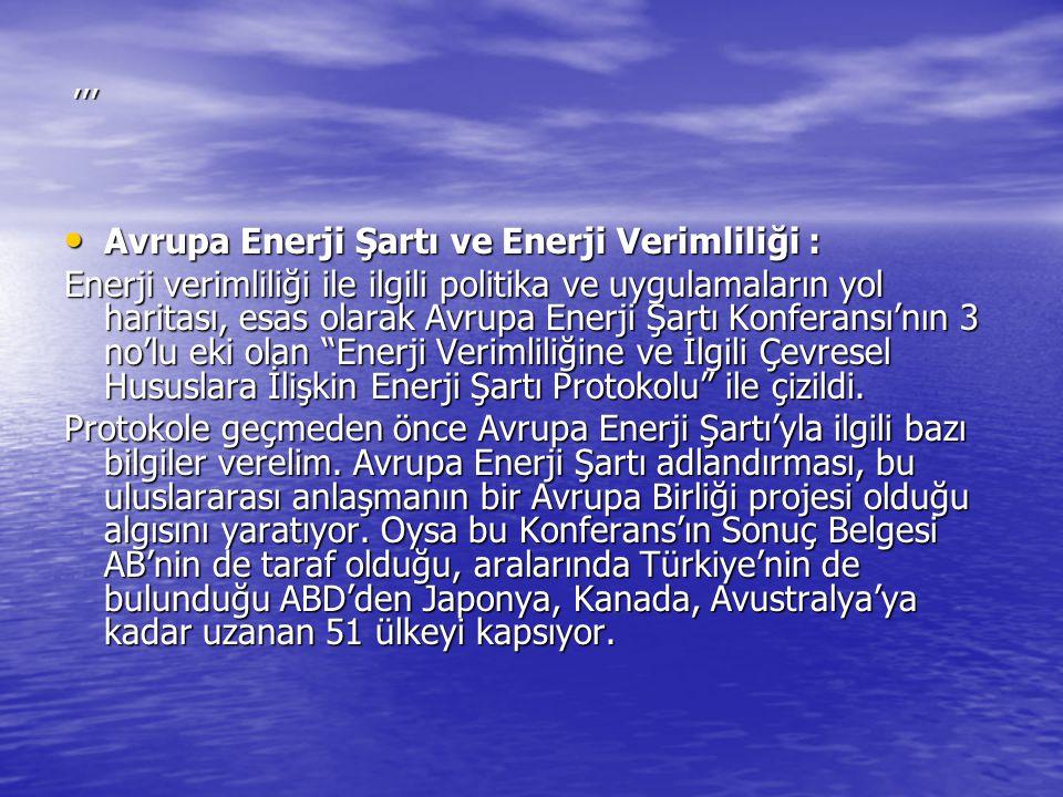 Avrupa Enerji Şartı ve Enerji Verimliliği :