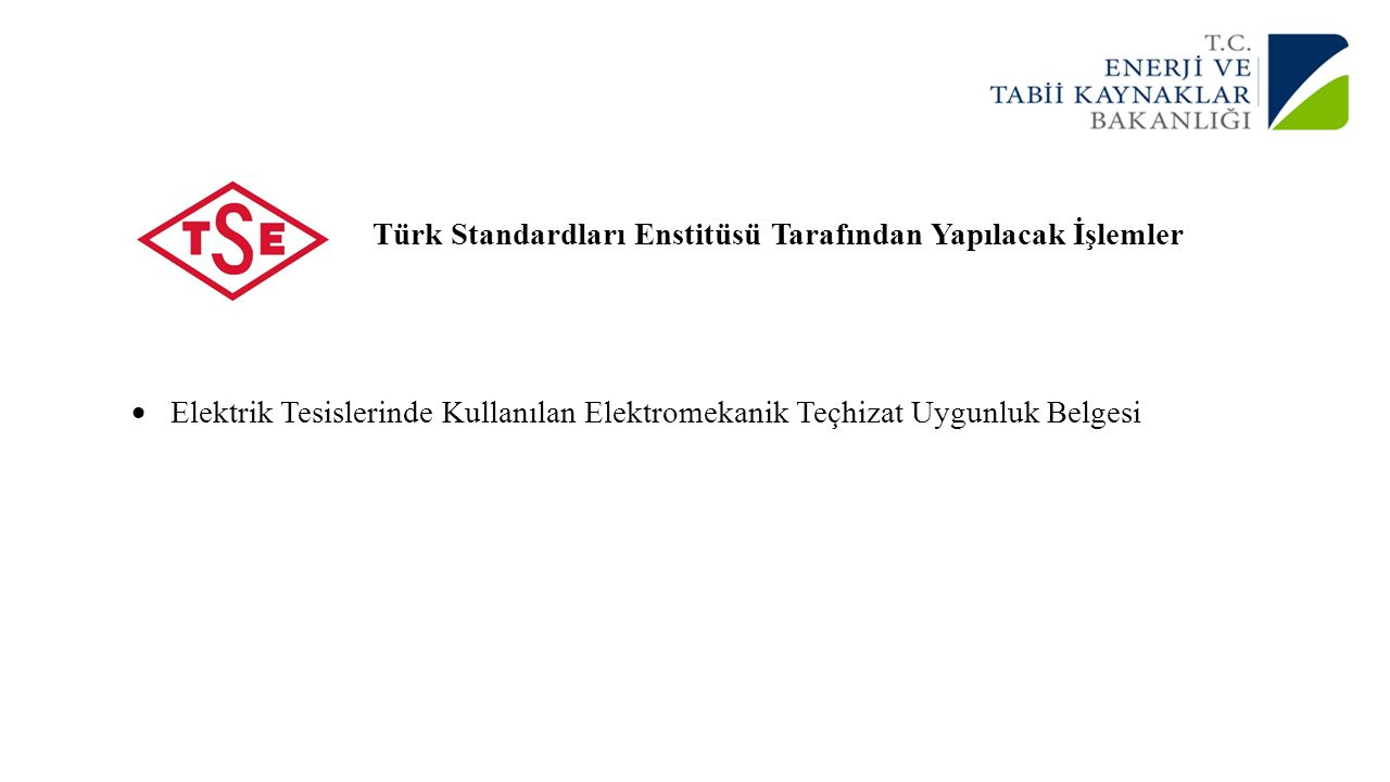 Türk Standardları Enstitüsü Tarafından Yapılacak İşlemler