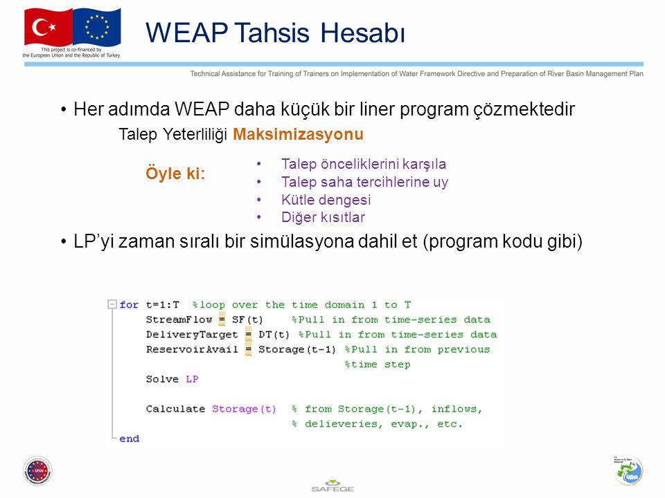 WEAP Tahsis Hesabı Her adımda WEAP daha küçük bir liner program çözmektedir. Talep Yeterliliği Maksimizasyonu.