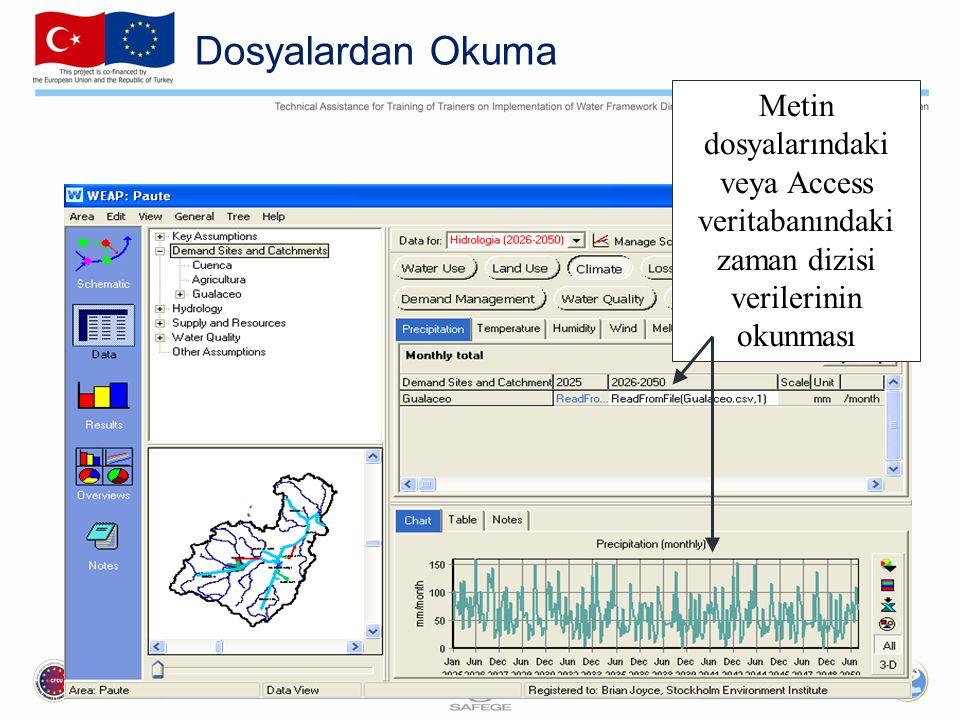 Dosyalardan Okuma Metin dosyalarındaki veya Access veritabanındaki zaman dizisi verilerinin okunması.