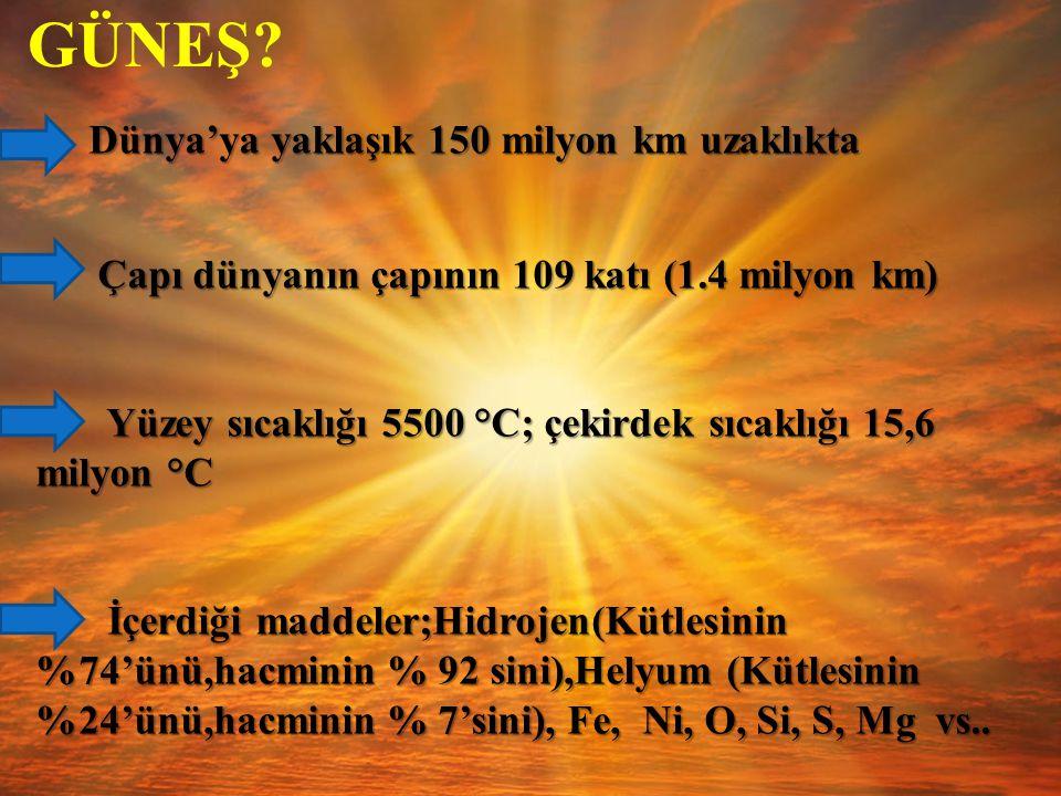 GÜNEŞ Yüzey sıcaklığı 5500 °C; çekirdek sıcaklığı 15,6 milyon °C