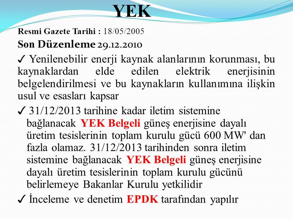 YEK Resmi Gazete Tarihi : 18/05/2005. Son Düzenleme 29.12.2010.