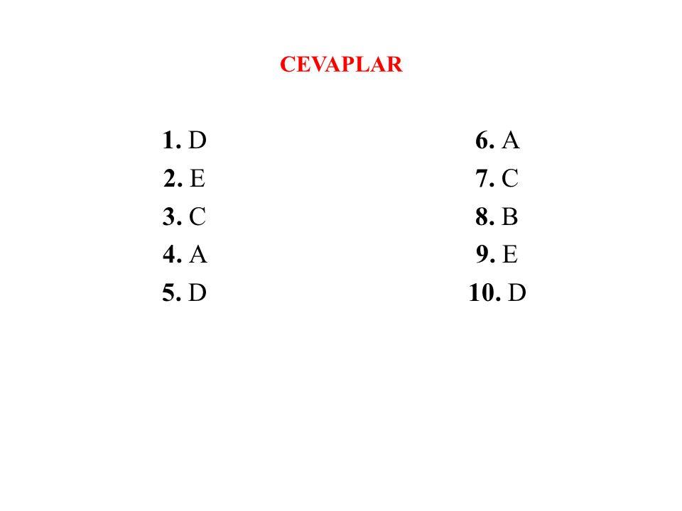 CEVAPLAR 1. D 2. E 3. C 4. A 5. D 6. A 7. C 8. B 9. E 10. D