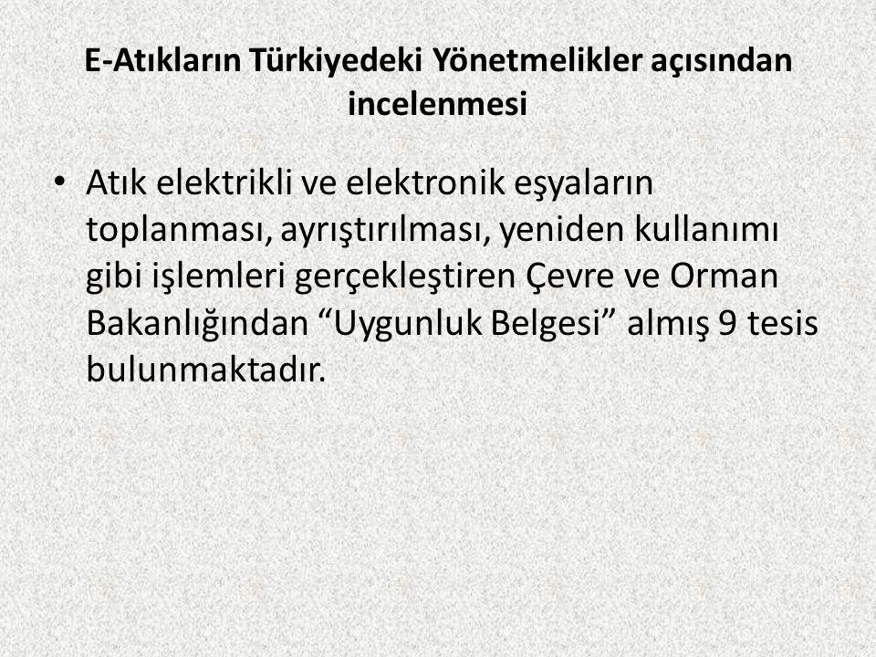 E-Atıkların Türkiyedeki Yönetmelikler açısından incelenmesi
