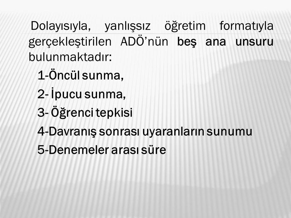 Dolayısıyla, yanlışsız öğretim formatıyla gerçekleştirilen ADÖ'nün beş ana unsuru bulunmaktadır: