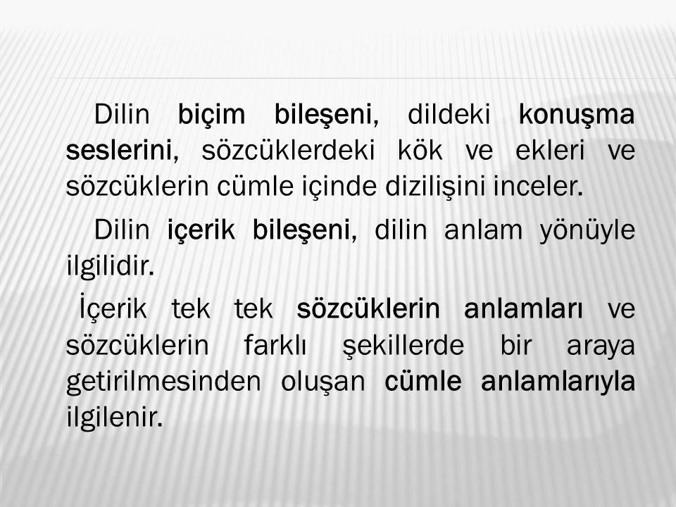 Dilin biçim bileşeni, dildeki konuşma seslerini, sözcüklerdeki kök ve ekleri ve sözcüklerin cümle içinde dizilişini inceler.