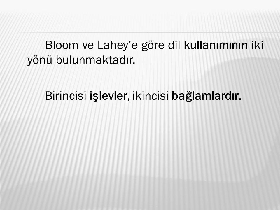 Bloom ve Lahey'e göre dil kullanımının iki yönü bulunmaktadır.