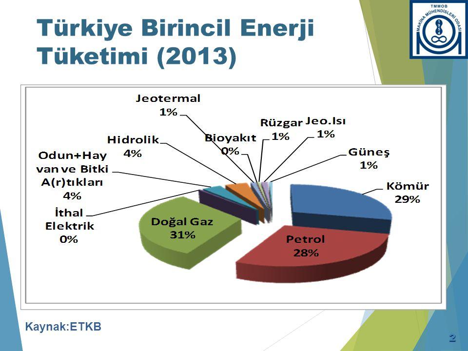 Türkiye Toplam Birincil Enerji Arzı İçinde Kaynakların Miktarı ve Payı
