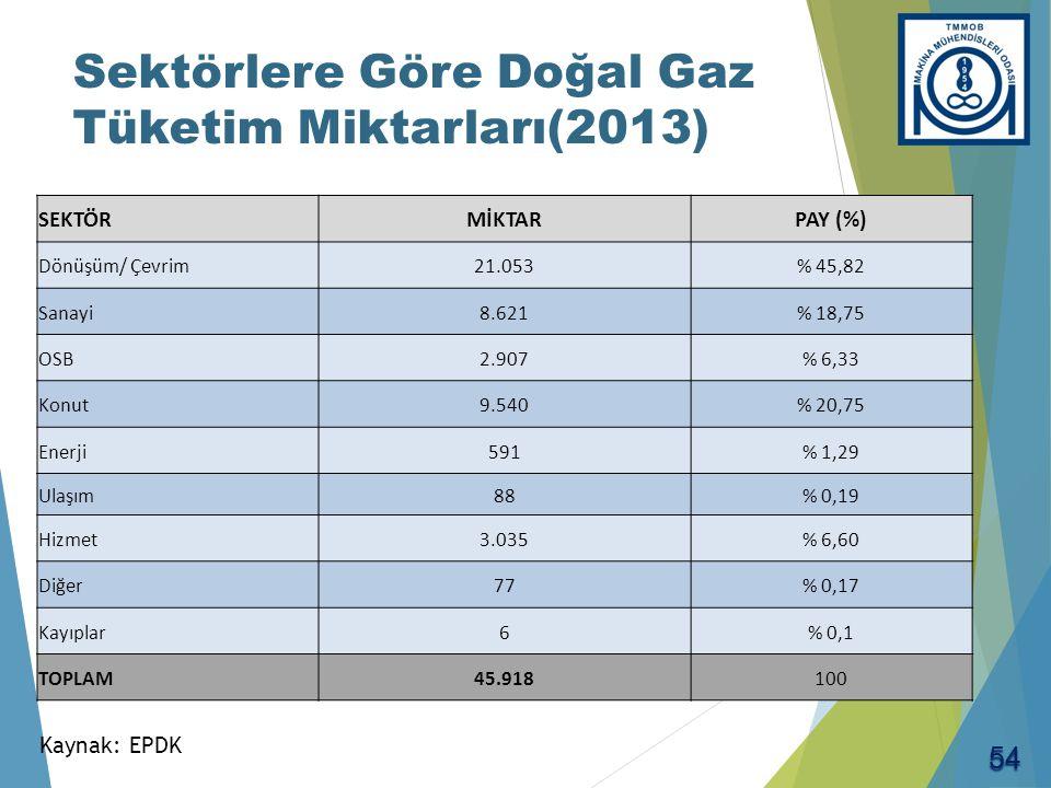 Doğal Gaz İthalatının Kaynakları (2013)