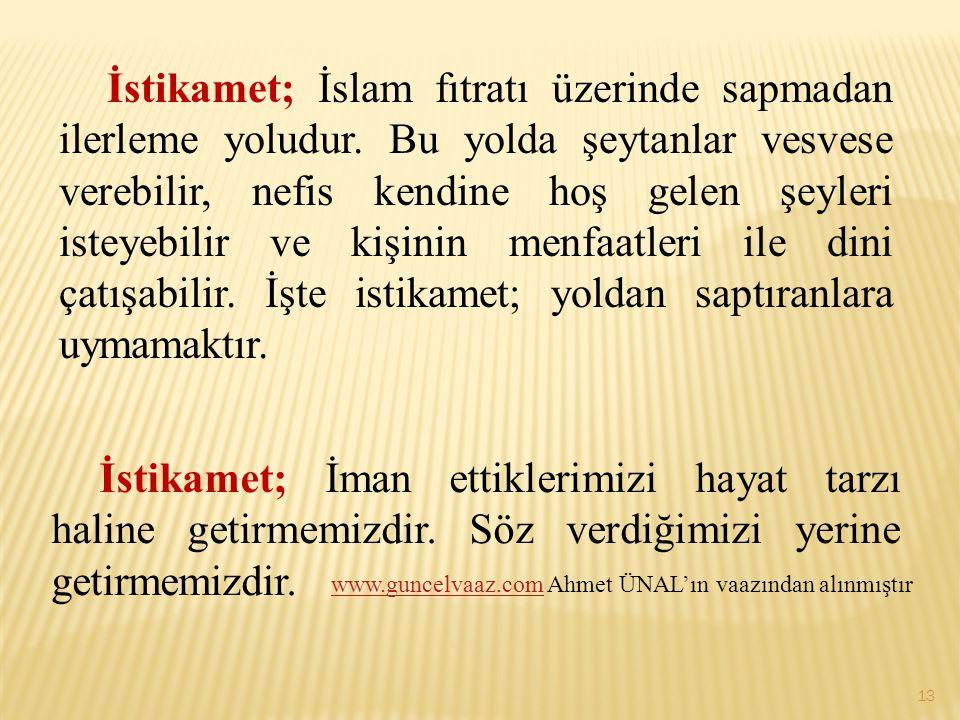 İstikamet; İslam fıtratı üzerinde sapmadan ilerleme yoludur