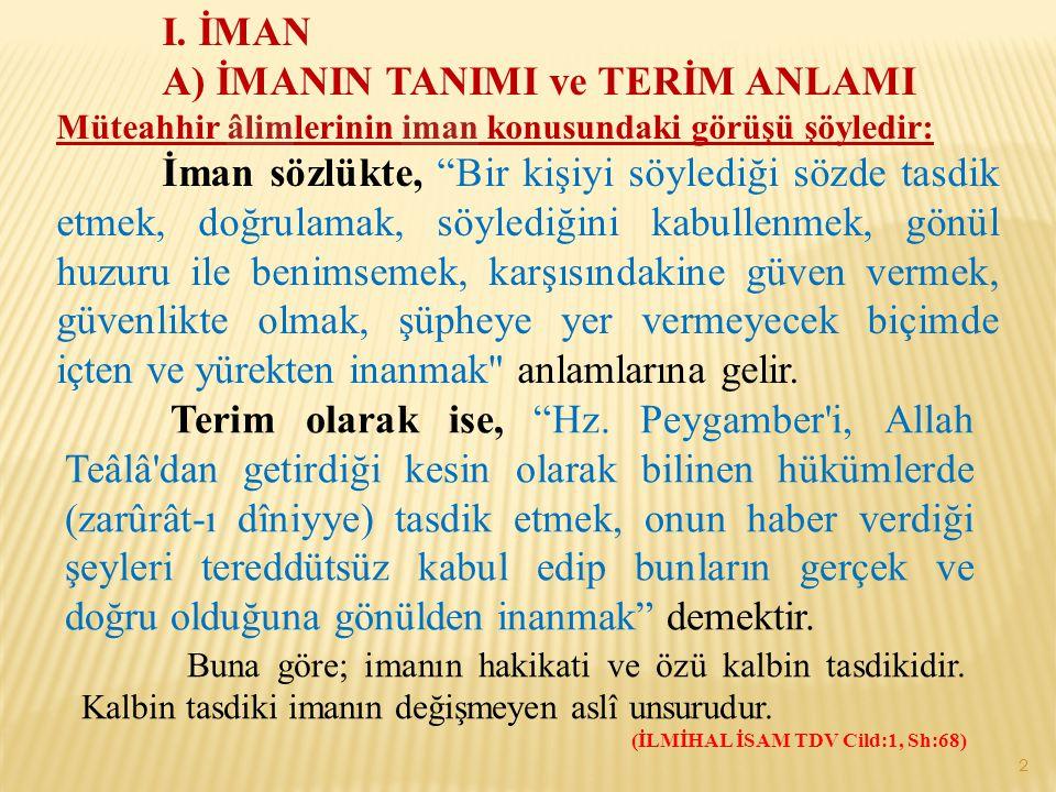 A) İMANIN TANIMI ve TERİM ANLAMI