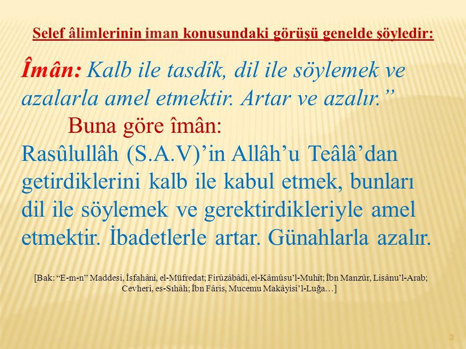 Selef âlimlerinin iman konusundaki görüşü genelde şöyledir: