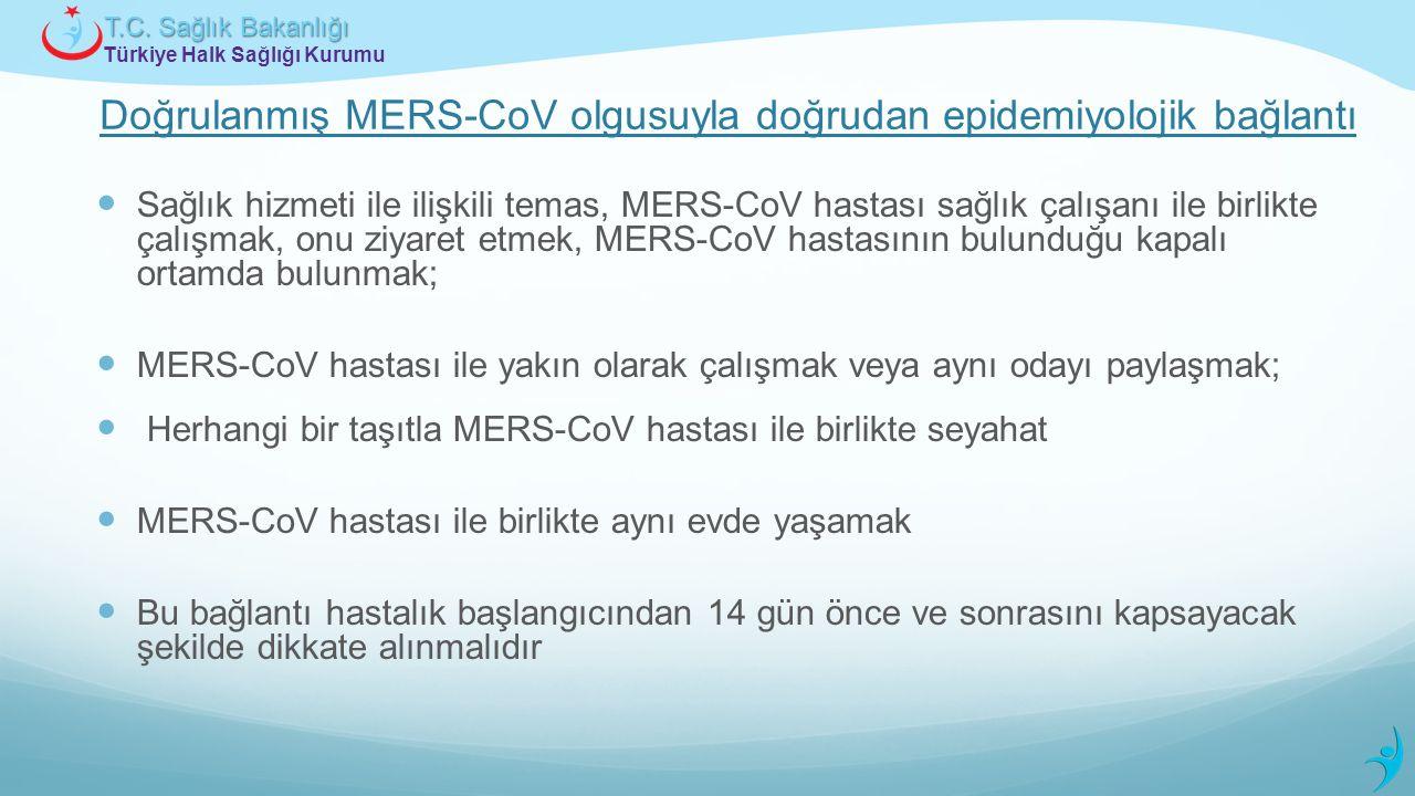 Doğrulanmış MERS-CoV olgusuyla doğrudan epidemiyolojik bağlantı