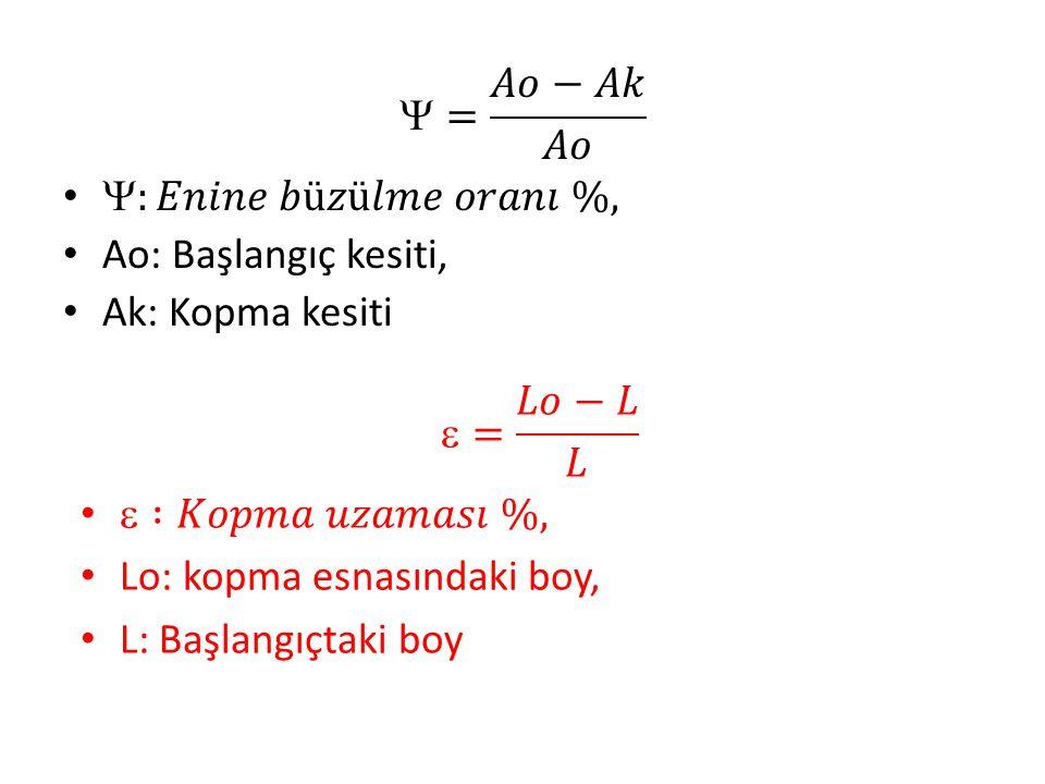 = 𝐴𝑜−𝐴𝑘 𝐴𝑜 :𝐸𝑛𝑖𝑛𝑒 𝑏ü𝑧ü𝑙𝑚𝑒 𝑜𝑟𝑎𝑛𝚤 %, Ao: Başlangıç kesiti, Ak: Kopma kesiti. = 𝐿𝑜−𝐿 𝐿.  :𝐾𝑜𝑝𝑚𝑎 𝑢𝑧𝑎𝑚𝑎𝑠𝚤 %,