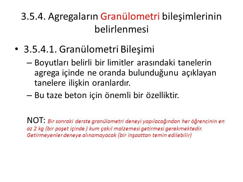 3.5.4. Agregaların Granülometri bileşimlerinin belirlenmesi