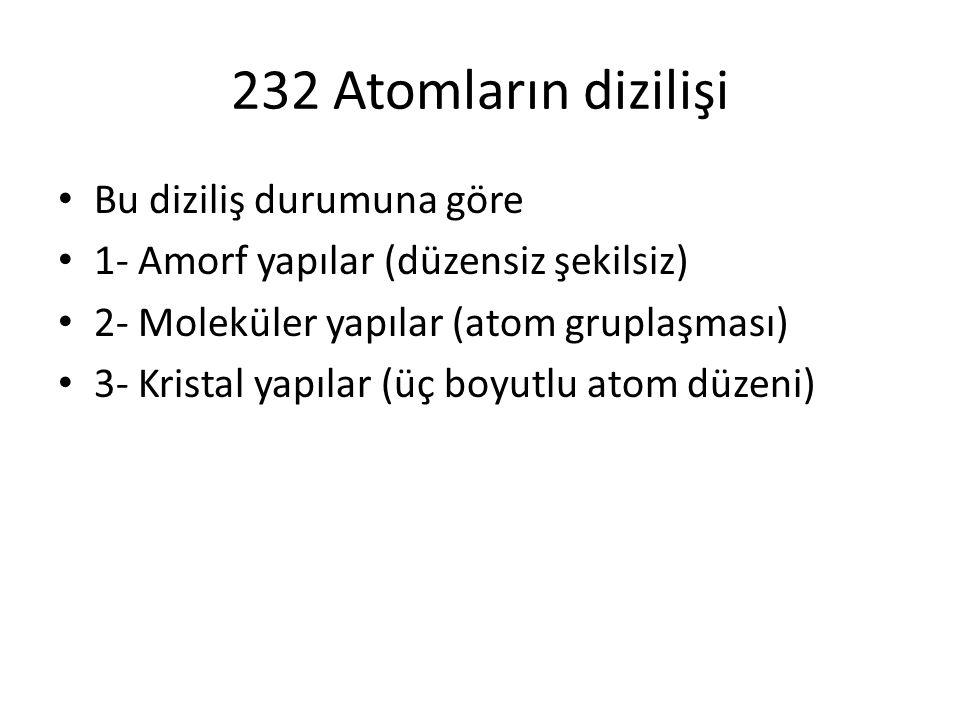 232 Atomların dizilişi Bu diziliş durumuna göre