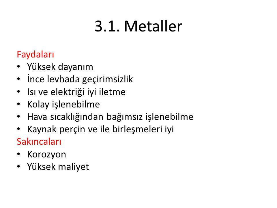 3.1. Metaller Faydaları Yüksek dayanım İnce levhada geçirimsizlik