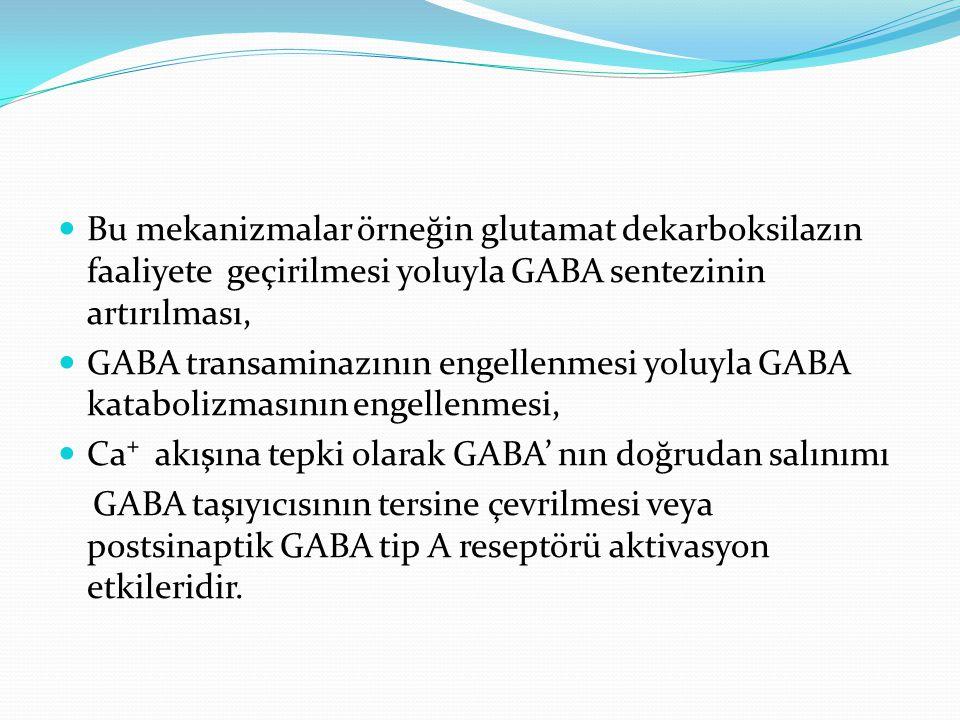 Bu mekanizmalar örneğin glutamat dekarboksilazın faaliyete geçirilmesi yoluyla GABA sentezinin artırılması,