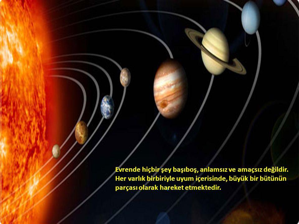 Evrende hiçbir şey başıboş, anlamsız ve amaçsız değildir