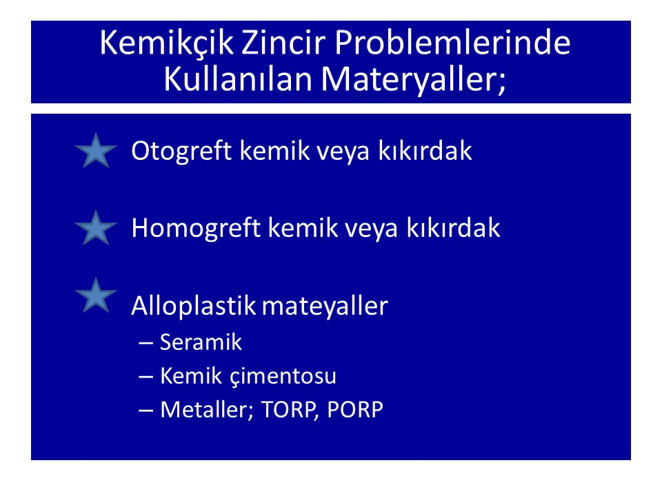 Kemikçik Zincir Problemlerinde Kullanılan Materyaller;